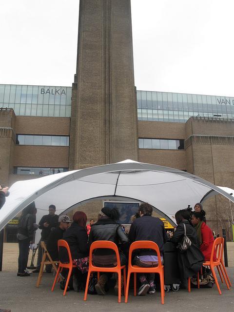 Talkaoke set up under the event shelter