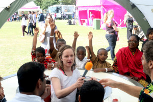 Margot hosting Talkaoke at The Mayors Newham Show